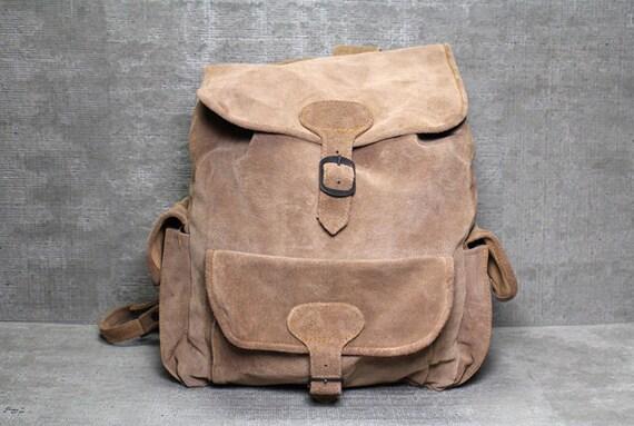 Vtg 90s Tan Suede Leather Drawstring Backpack Rucksack