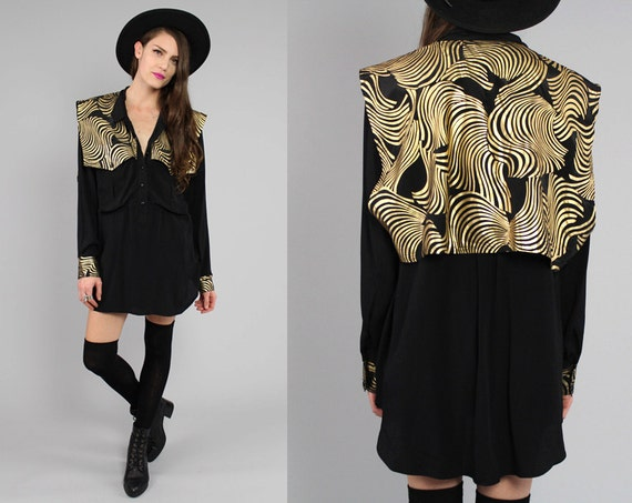 Vtg 80s Black Gold Avant Garde Tunic Shirt Mini Dress OS L