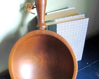 Midcentury Woodcroftery Cherry Wood Bowl with Feet and Handle