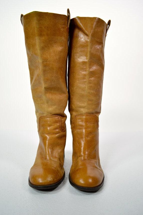 1970s Bohemian Wells Fargo Boots Tall Knee High Boots