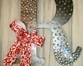"Blinged out Letter ""R"" in Gun Metal Gray"