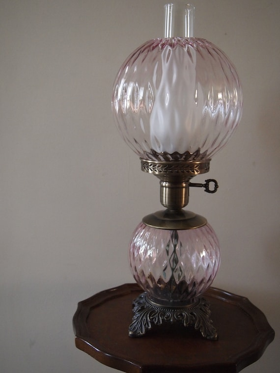 Vintage Double Globe Pink Table Lamp Reserved For Suzette