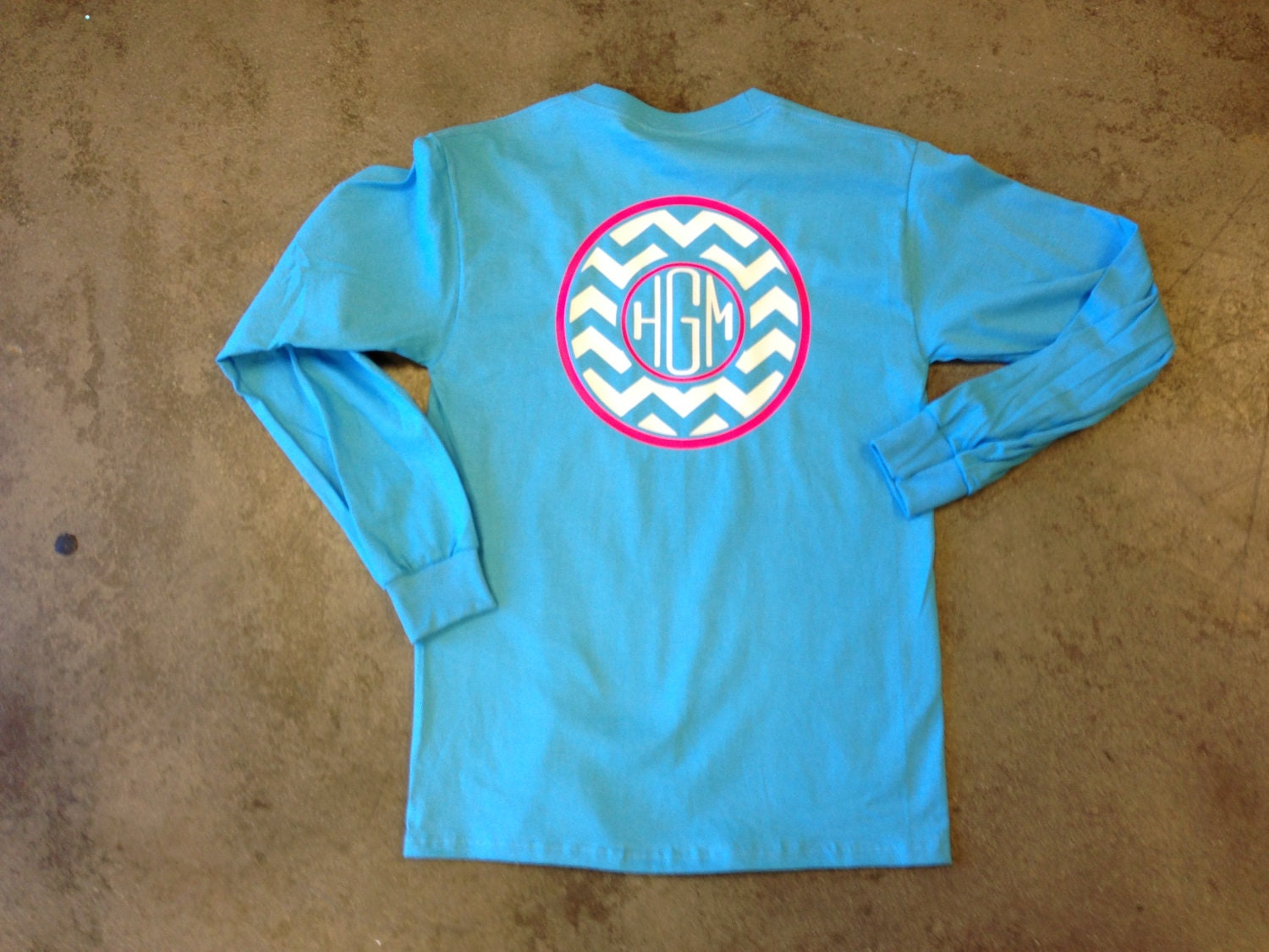Monogrammed chevron long sleeve shirt by thesassyletter on for Brand name long sleeve t shirt
