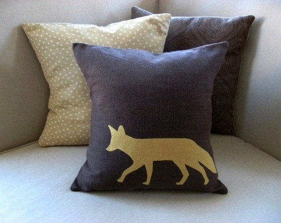 Winter Woodland Fox Silhouette Appliqued Pillow Cover