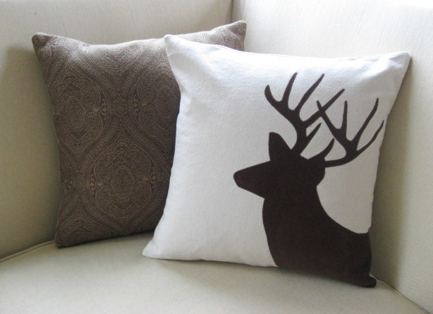 Deer Pillow Cover Rustic Modern Luxe Ski Lodge by VixenGoods