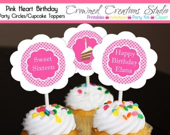 Pink Heart Patterned Cupcake Toppers, Stickers, or Party Circles - Sweet Sixteen or Other Party Printables