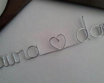 Sale Personalized bridal wedding hanger comes with bow and jewel. (shown in dark cherry wood)