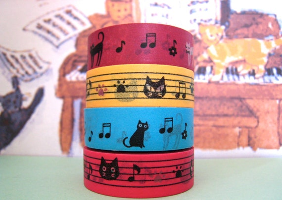 "Washi tape set...""Musical Cats """
