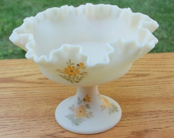Fenton Hand-Painted Daisies on Cameo Satin Comport - Artist Signed - Vintage and Discontinued  1978-1983