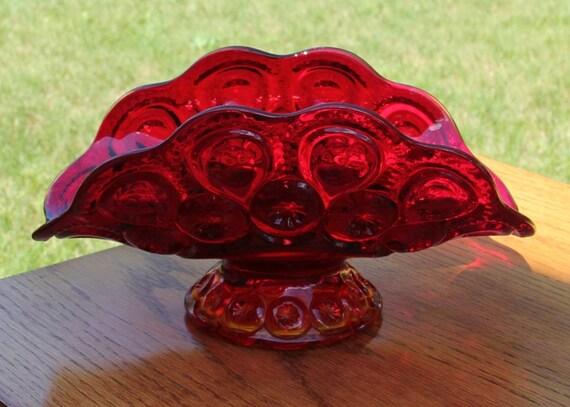 Vintage Smith Glass Co. Flame Moon & Star Banana Bowl