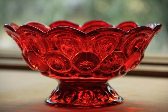 Vintage Smith Glass Co. Flame Moon & Star Candle Bowl