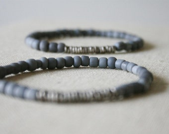 grey glass bracelet // Indonesia // Kenya silver heishi // tribal // rustic // minimal // eco // handmade
