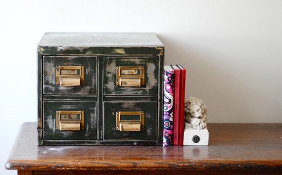 Industrial Vintage Filing Card Library Drawers Desk file system unusual storage