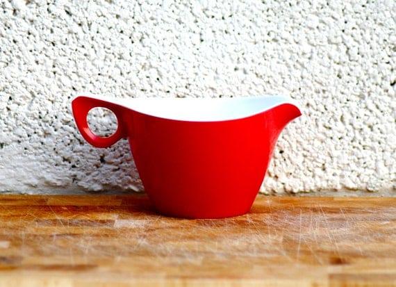 Retro Red Jug melamine milk cream jug Melaware picnic camping plastic