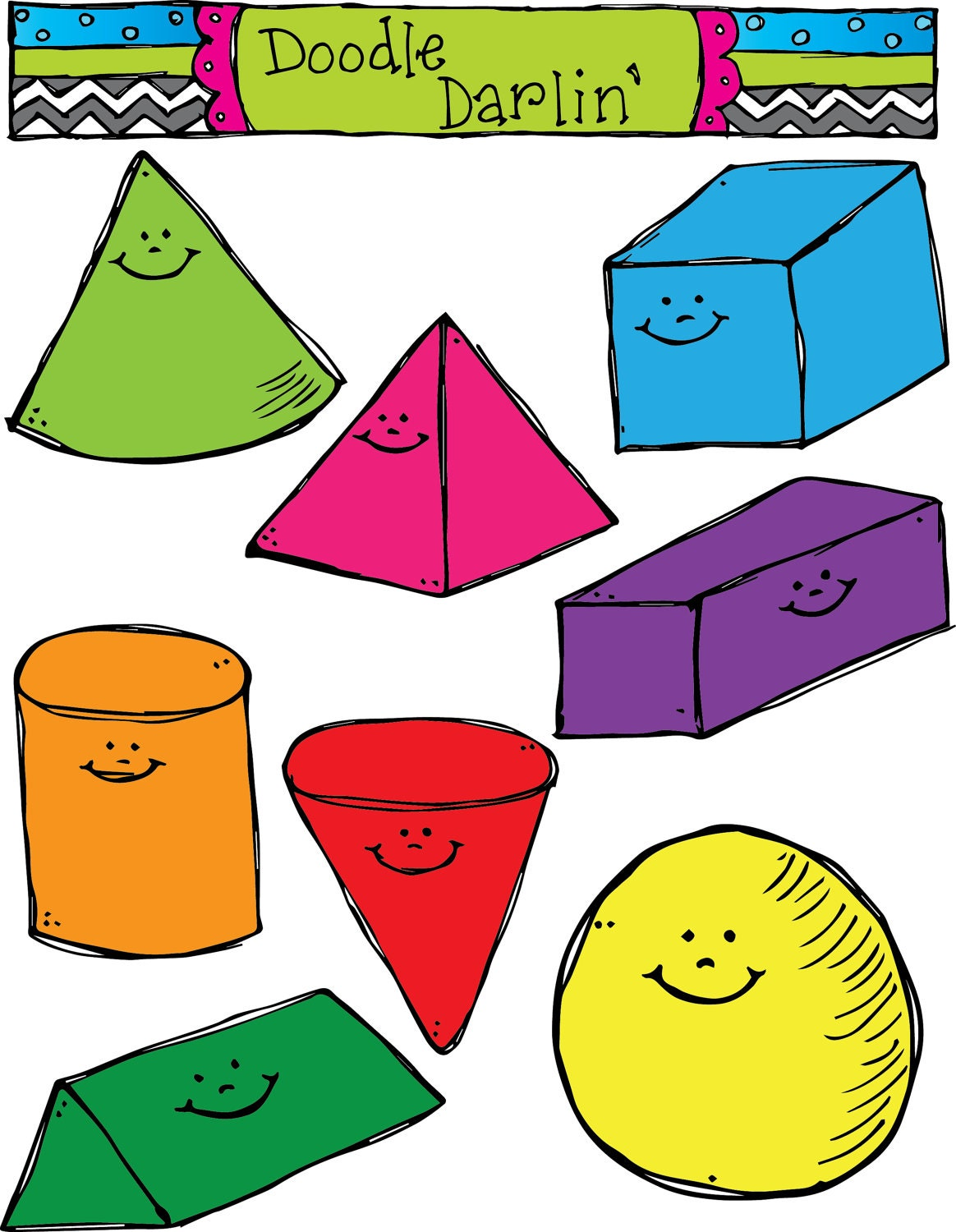 Shape Meaning In Art : D smiling shapes clipart set instant download by doodledarlin