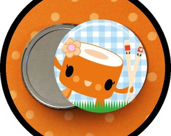 "Sushi 2.25 inch pocket MIRROR, button or magnet 2 1/4"" size"
