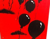Let Go Original Acrylic painting 12x24 balloons in red sky