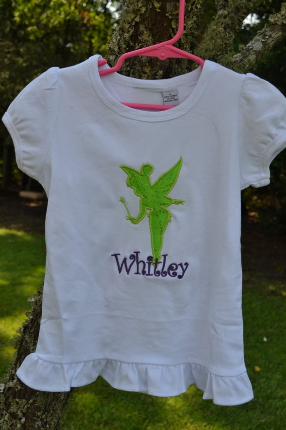 Items Similar To Personalized Tinkerbell Applique Design T