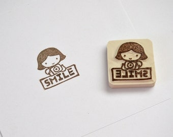 Hand Carved Rubber Stamp / Smile