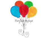 Digitial Machine Embroidery Design -  Birthday Balloons Applique