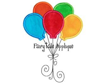 Digitial Machine Embroidery Design -  Birthday Balloons Applique
