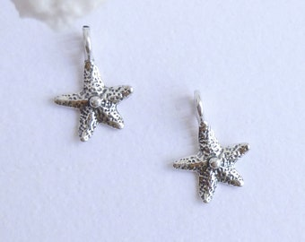 Sterling Silver Starfish Charms -- 2 Pieces -- 925 Sterling Small Star Fish Pendants