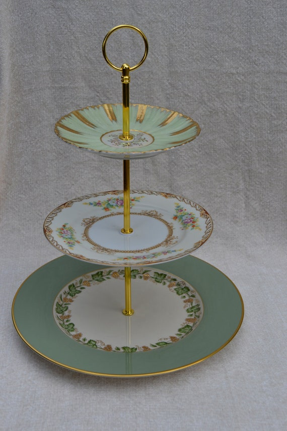 Gorgeous greens and golds 3 tier cake or  dessert  stand
