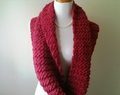 Handknit Eyelet Cable Cowl in Dark Strawberry - Circle Scarf - READY TO SHIP