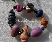 FREE S&H - Eight not so Ordinary Beads - Elegant Bracelet - StudioSabine
