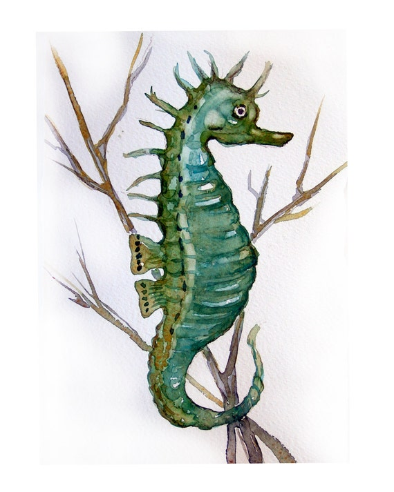 Watercolor painting Seahorse-Art original-Seahorse in minty green painted by watercolors