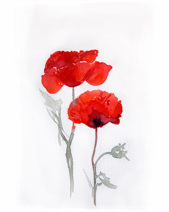 Watercolor painting of poppies -Art painting watercolor Red Poppies-7    Poppies Watercolor Painting