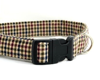 Adjustable Dog Collar, Beige Plaid, Soft and Comfortable, Neutral Collar