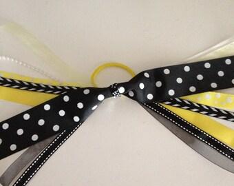 Black, Yellow & White Pony Tail Bow