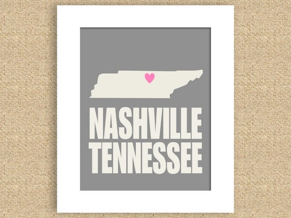 "Nashville Tennessee  8"" x 10"" Print - Can do any city, state, or color :)"