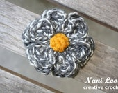 FLOWER Hairclip.  Grey and white petals with mustard yellow center.  Girls, infant, toddler, teen, adult. Accessory, photo prop