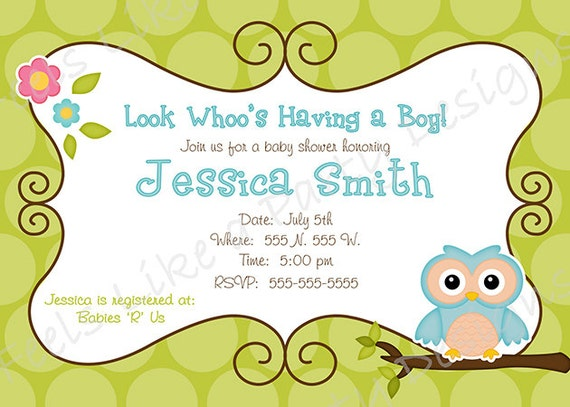Baby Shower Owl Invitations gangcraftnet