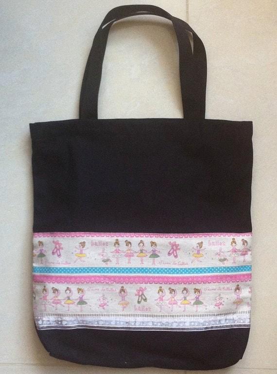 20314-black ballet tote bag-Ballet pattern