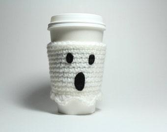 Ghost Coffee Cozy, Halloween Can Holder, Coffee Sleeve, Crochet Drink Cup Holder, Java Jacket