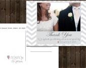 Wedding Thank You Postcard Printable, Customize Chevron, Digital File,