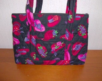 Red Pink Hats Black Print Quilted Purse
