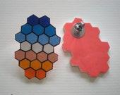 Hand Drawn Geometric Earrings - Blue and Orange Ombre Honeycomb Shrink Plastic Post Earrings