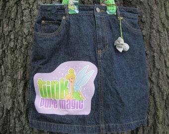 Tinkerbell Tote Bag-Tinkerbell Diaper Bag-Large denim Tote Bag-OOAK Tote Bag-Diaper Bag-