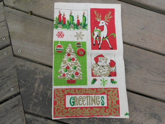 Reseerved for Dianna -TOWEL -CHRISTMAS LINEN - Parisian Prints Linen -Vintage- Christmas Graphics