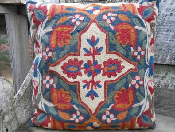 Vintage Crewel Pillow  - Cross Pillow - Embroidered Pillow