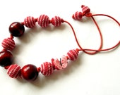 Crochet Beads Necklace , Necklace Cherry-Pink , Teething Necklace , Mommy Necklace , Necklace Baby children's necklace