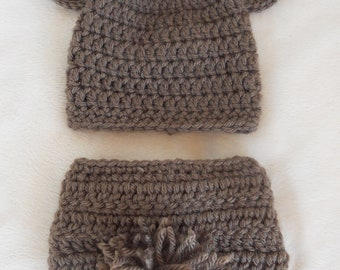 Crochet Bear Baby Blue Beanie Hat  & Diaper Cover Set Handmade Photo Prop