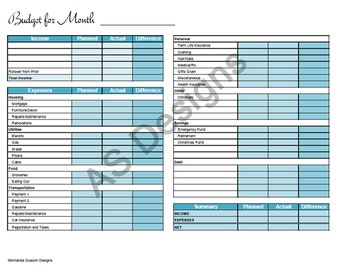 Zero Based Budget Excel Spreadsheet Instant Download Household