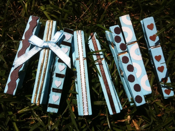 blue boy baby shower wooden clothespins set of by daisycelebrates