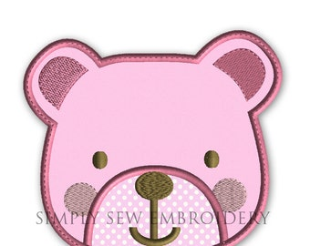 Teddy Bear Applique Machine Embroidery Design No.06