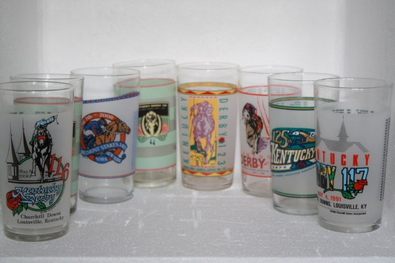 for the race lover....set of 8 derby /race glasses....